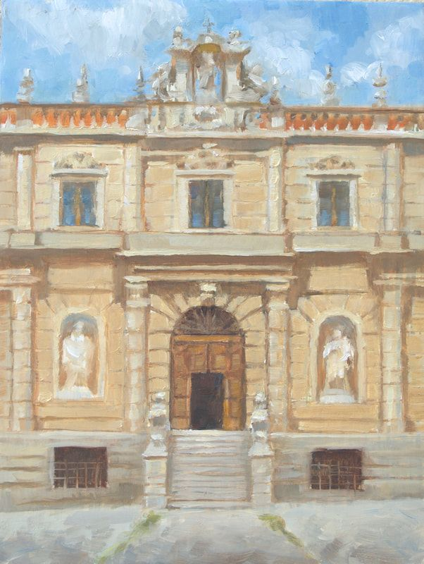 painting, italy. plein air, certosa, church, monastery, painting sale, art collect
