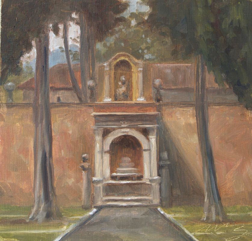 painting, italy. plein air, certosa, church, monastery, painting sale, art collect, garden, italian countryside