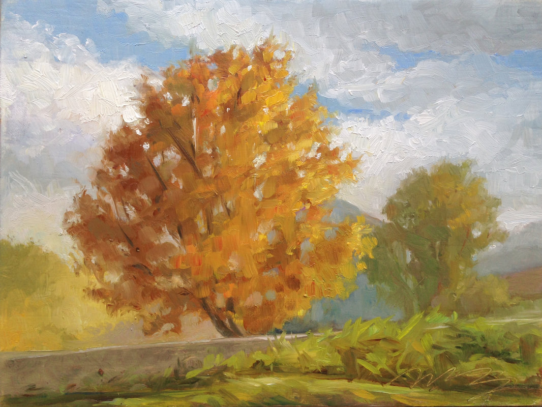autumn painting, tree, colors, plein air painting, tree painting, orange tree, italy