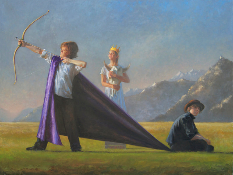 bow and arrow, crown, purple cape, black hat, landscape, mountains, field, figurative art, melinda borysevicz artist