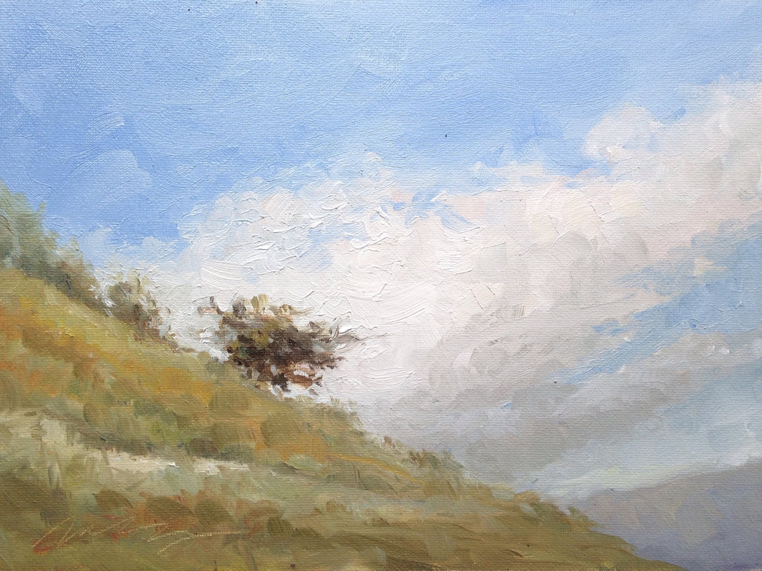 plein air painting sale hill tree sky italy