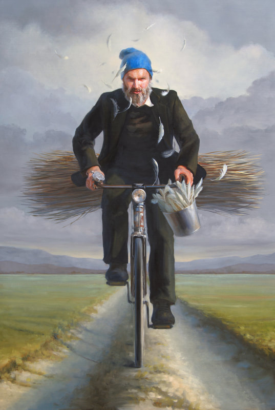 oil painting man on bicycle, art, paintings, italy, artista americana, pittrice, painter, quadri, fine art, art collector, realism, contemporary realism, magical, enchanting, Melinda Borysevicz, artist