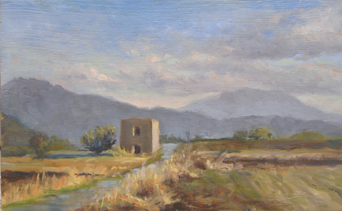 landscape painting Italian countryside, plein air painting