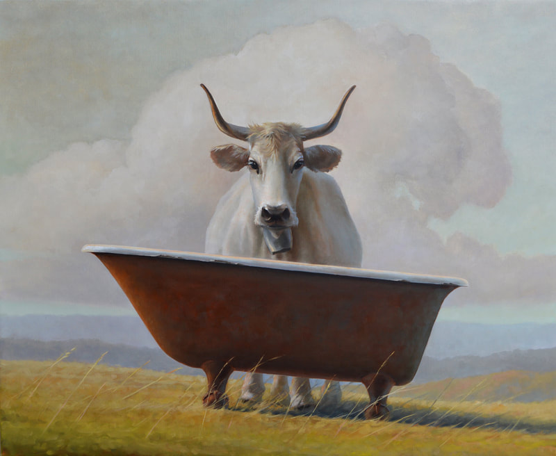 white cow, painting, cow painting, podolica, bathtub, italian landscape